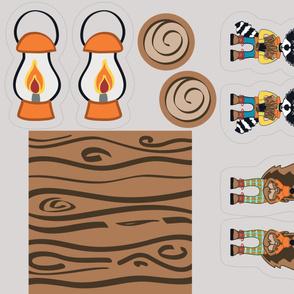 Happy Camper Pillows (Fox, Raccoon, Squirrel, Bear, Lantern, Log)
