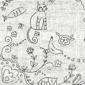 whimsical animal samper - black and white