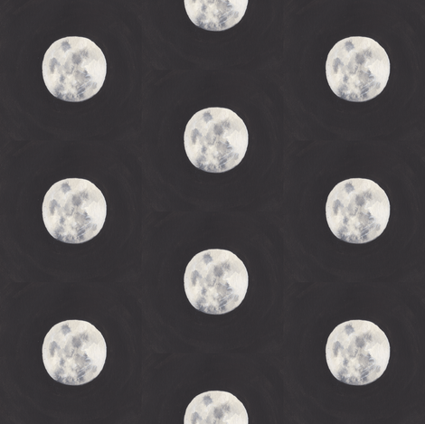 moon watercolor larger fabric by lilafrances on Spoonflower - custom fabric