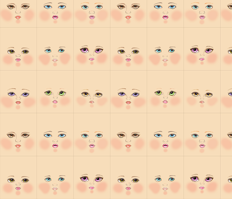 Peach doll faces fabric by dollproject on Spoonflower - custom fabric
