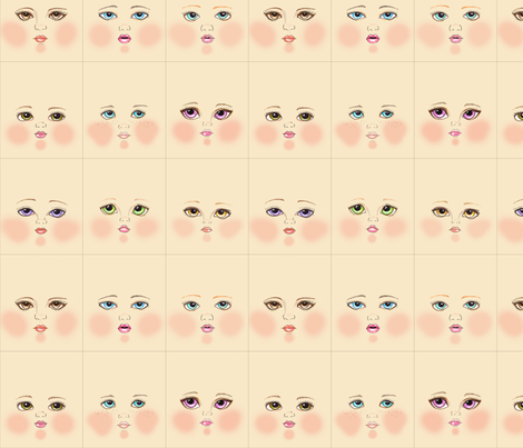 Cream doll faces fabric by dollproject on Spoonflower - custom fabric