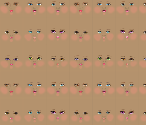 Tan skin faces fabric by dollproject on Spoonflower - custom fabric