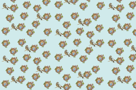 Bird_branch_and_nest_blue fabric by jennifer_rizzo on Spoonflower - custom fabric