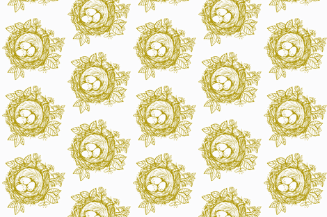 Sketched_bird_nest-gold fabric by jennifer_rizzo on Spoonflower - custom fabric