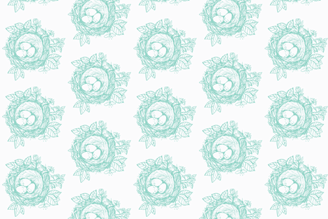 Sketched_bird_nest-aqua blue fabric by jennifer_rizzo on Spoonflower - custom fabric
