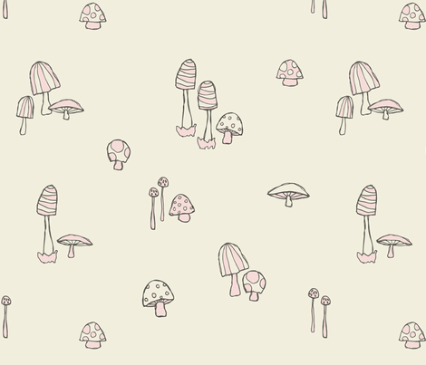 Forest Mushrooms Candyfloss fabric by phirefly_print on Spoonflower - custom fabric