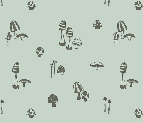 Forest Mushrooms Spearmint fabric by phirefly_print on Spoonflower - custom fabric