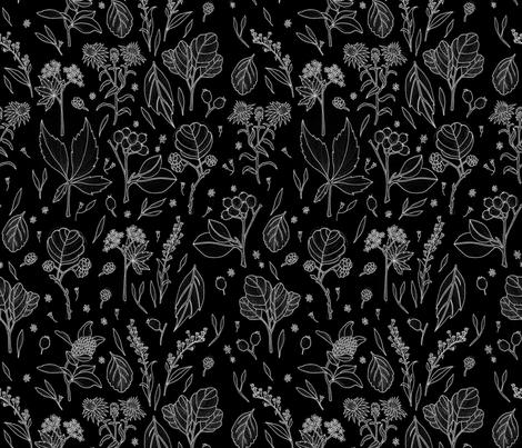 Autumn plants black fabric by marta_strausa on Spoonflower - custom fabric