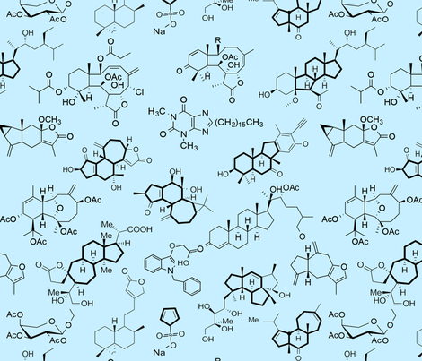 Molecules // Blue // Large fabric by thinlinetextiles on Spoonflower - custom fabric