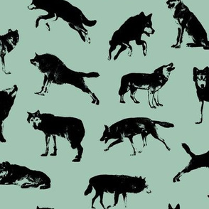 Wolves on Shadow Green // Large-size