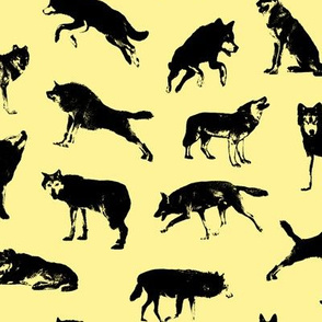 Wolves on Canary Yellow // Large-size
