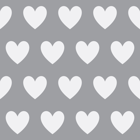 gray and white heart fabric fabric by dani_apple on Spoonflower - custom fabric