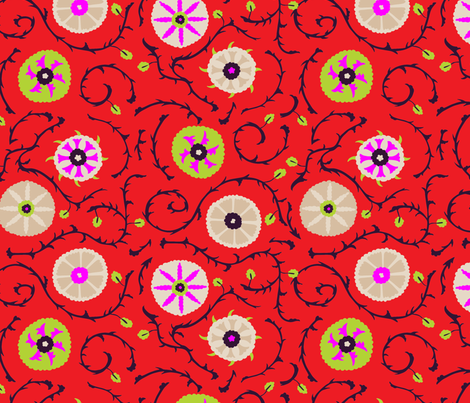 suzani_red fabric by holli_zollinger on Spoonflower - custom fabric