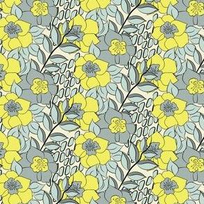 16-15Z Lemon Yellow Green Gray Thyme Floral Stripe Sea glass green_Miss Chiff Designs