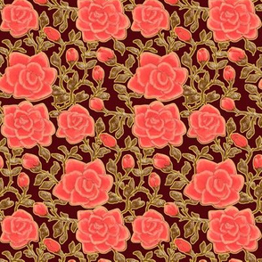 Outlined Retro Roses Dark Pink