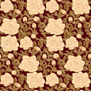 Outlined Retro Roses Ivory