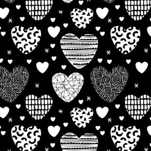 Cute hearts love and romantic wedding theme for kids and lovers valentine black and white