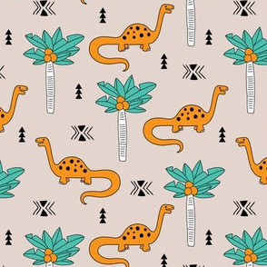 Super cute palm trees and dinosaurs illustration indian summer theme for kids mint orange