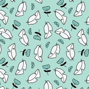 Summer feathers and flowers illustration pastel scandinavian style theme spring summer girls mint blue