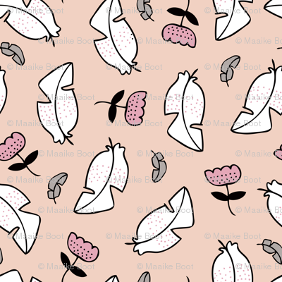 Summer feathers and flowers illustration pastel scandinavian style theme spring summer girls soft pink