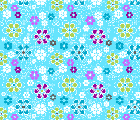 Fresh Petals Aqua fabric by bethanysdesigns on Spoonflower - custom fabric