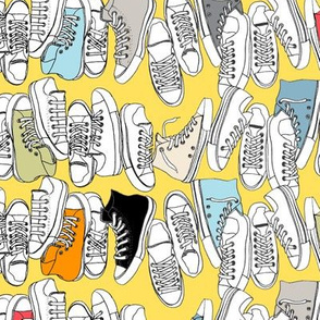 All-Stars (Yellow) || sneakers tennis shoes fashion sports geek chic punk emo