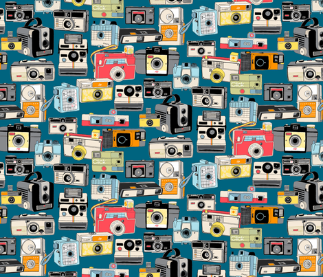 Make It Snappy! (Midnight) || vintage camera illustrations analog photography film photo photographer fabric by pennycandy on Spoonflower - custom fabric