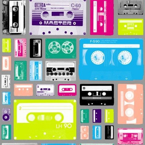 Mix Tapes (Gray) || retro 70s 80s cassette music rock and roll collage vintage analog