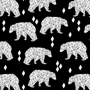 origami bear black and white larger version