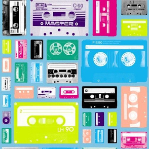 Mix Tapes (Light Blue) || retro 70s 80s cassette music rock and roll collage vintage analog