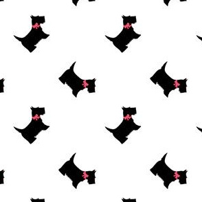 Scottie Dogs with Pink Bows