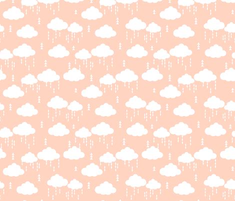 clouds blush rainclouds rain cloud girls nursery baby fabric by charlottewinter on Spoonflower - custom fabric