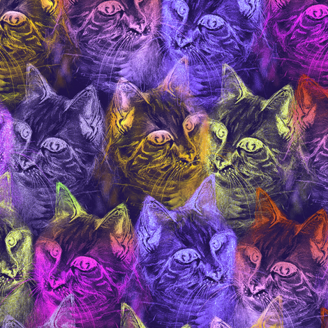 Precious Glitter Cat Neon Purple Lavender Violet Wallpaper