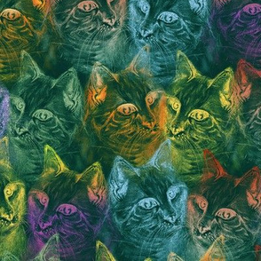 PRECIOUS GLITTER CAT neon turquoise green