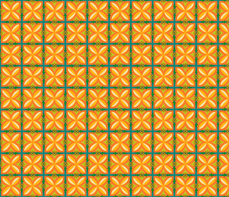 Kupuna Aloha orange fabric by madtropic on Spoonflower - custom fabric