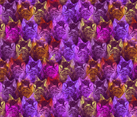 PRECIOUS GLITTER CAT Neon pink orange purple fabric by paysmage on Spoonflower - custom fabric