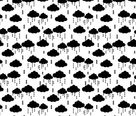 raincloud cloud clouds rain raining black and white clouds raining nursery baby fabric by charlottewinter on Spoonflower - custom fabric