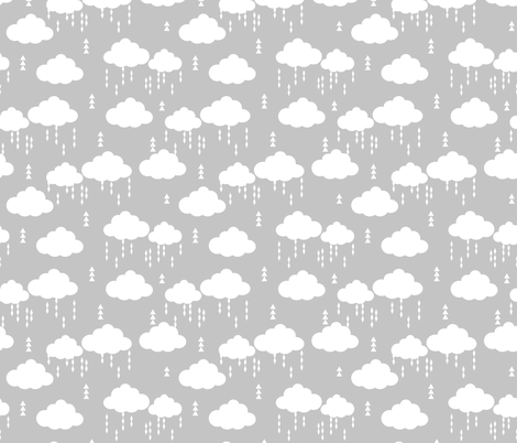 Cloud rain rains cloud clouds raincloud grey nursery baby for Grey baby fabric