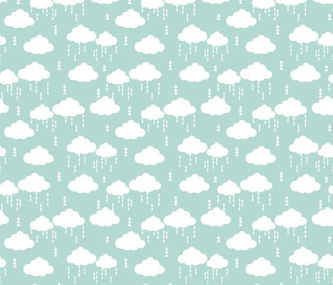 Cloud clouds rain raincloud mint nursery baby kids fabric for Grey childrens fabric