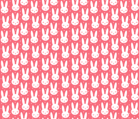 happy bunny cool coral scandinavian bunny head spring easter sweet little girls abstract bunny rabbit fabric by charlottewinter on Spoonflower - custom fabric