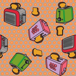 Toasters fly in peach hex