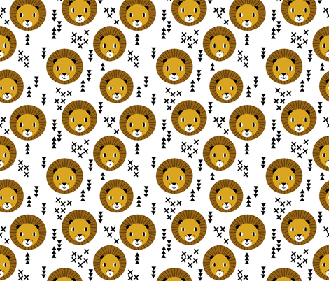 lion happy lion safari kids zoo  fabric by charlottewinter on Spoonflower - custom fabric