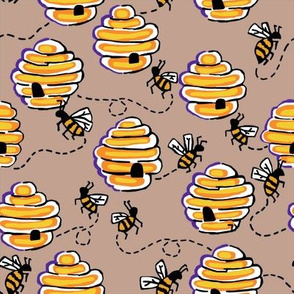 busy bees in sepia