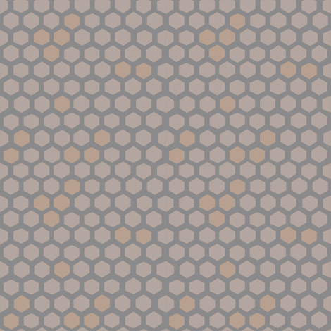 Hex spots honeycomb in cloud + cafe + sepia fabric by kheckart on Spoonflower - custom fabric