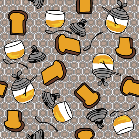 Toast + honey pots in muted colors fabric by kheckart on Spoonflower - custom fabric