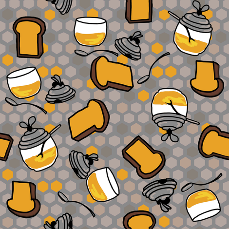 Toast + honey pots in honey/muted fabric by kheckart on Spoonflower - custom fabric