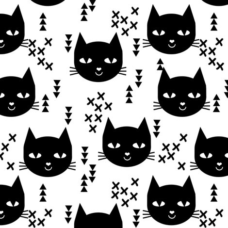 Cat head black and white kids nursery baby girls sweet cat for Black and white childrens fabric
