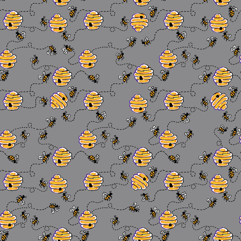 busy bees in cloud fabric by kheckart on Spoonflower - custom fabric