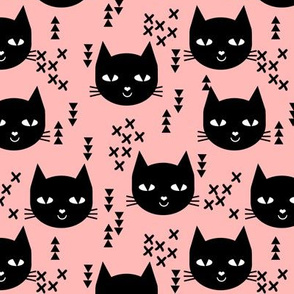 cat head pink black sweet kitten kitty cats girls