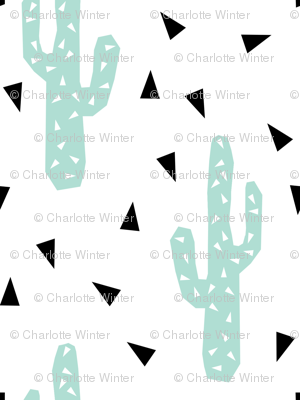 cactus tri southwest cactus trend black and white mint nursery baby kids summer